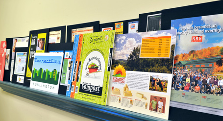 A taste of the good stuff from our work portfolio, displayed on conference room shelf