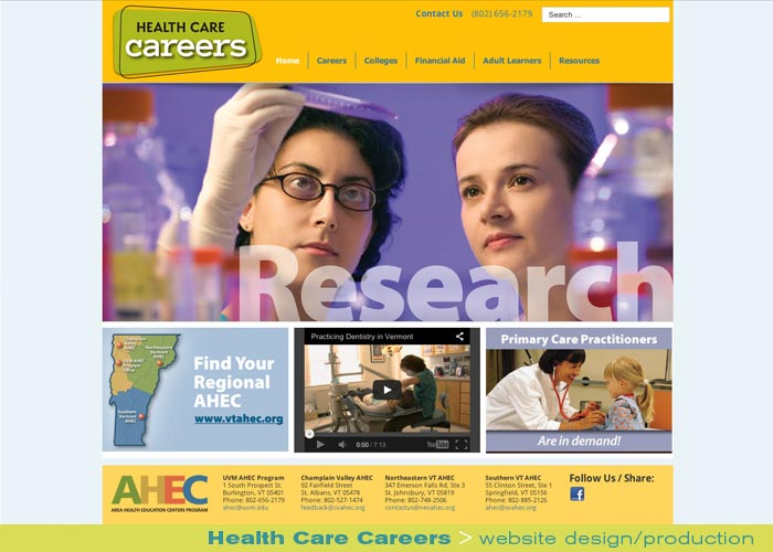 Digital Web Online_Health Care Careers_website design and production