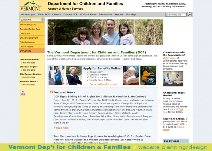 Digital Web Online_Vermont Department for Children and Families_website design and production