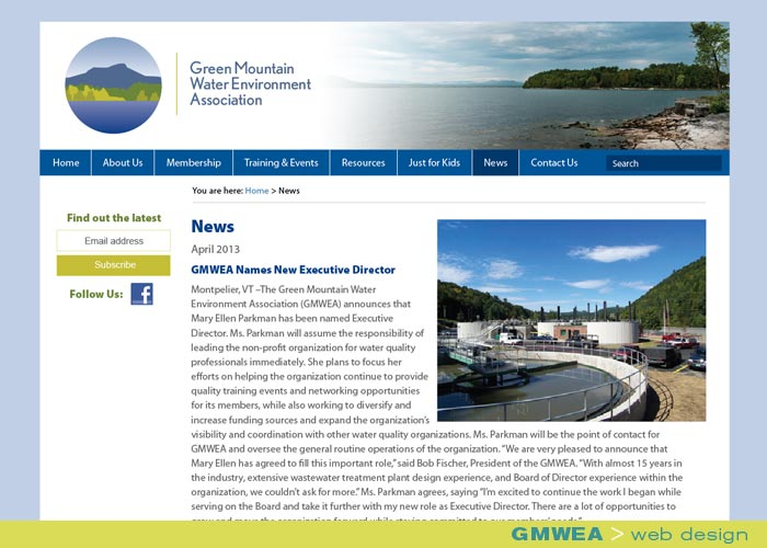 Digital Web Online_Green Mountain Water Environment Association_web design