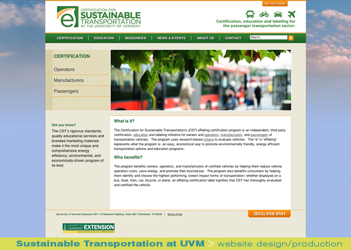 Digital Web Online_Sustainable Transportation at UVM_website design and production