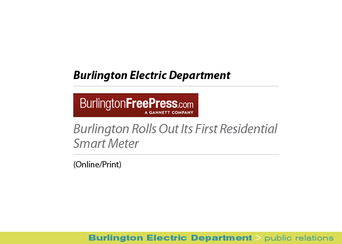Marketing Partners Public Relations image: Burlington Electric Department