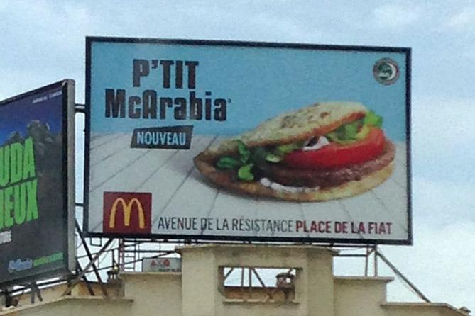 Major U.S. brand billboard sign for new sandwich in Morocco