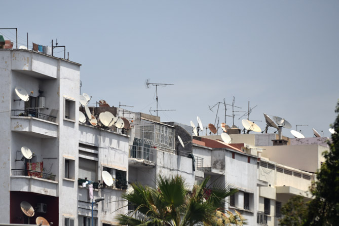 Rooftops with satellite dishes in Morocco
