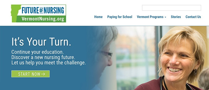 Vermont Nursing website home page image