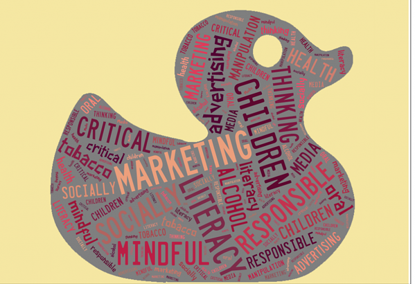 Image of literacy concepts within the shape of a rubber duck