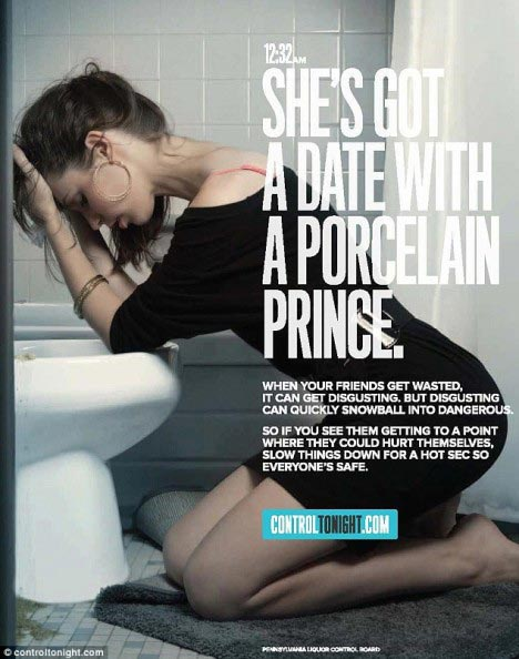 "Ad showing woman kneeling at toilet with a headline reading ""She's got a date with a porcelain prince."""