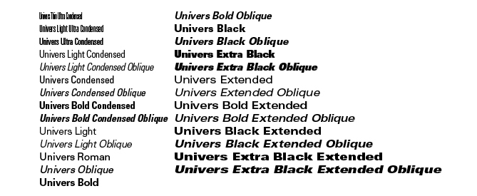 The many faces of just one font, Univers.