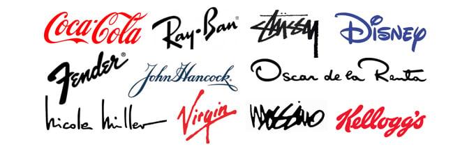 Wordmark logos created with custom typography, handwriting, or calligraphy.