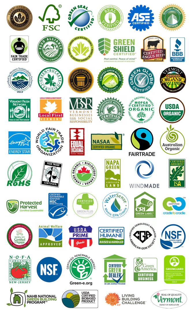 A gathering of certification, accreditation, and network logos