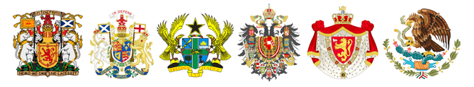 Coat-of-arms for Scotland, UK, Ghana, Austria, Norway and Mexico