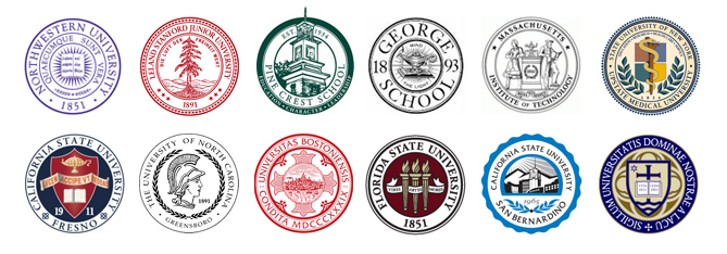 Various seal logos of colleges and universities