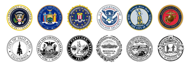 various official seals