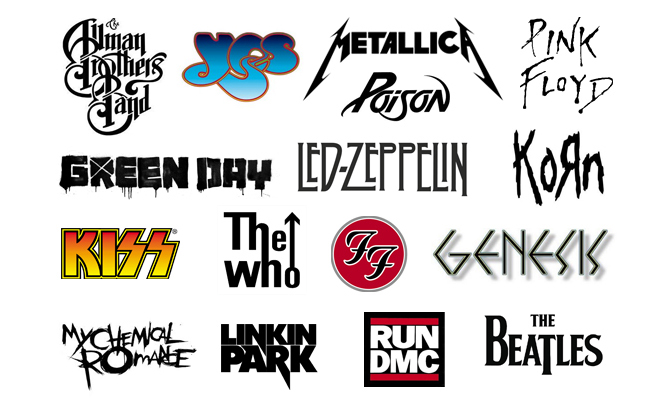 Rock logos. Iconic wordmarks of high-profile rock, pop, thrash, metal, and hip hop bands