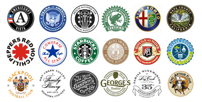 Examples of round seal logo designs
