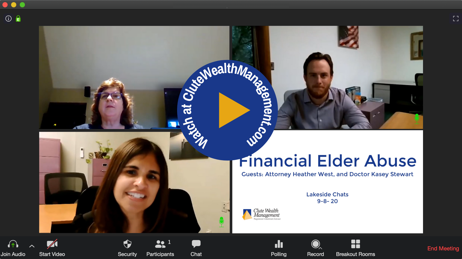 Video Chat Window with Clute Wealth Management Advisors Watch at CluteWealthManagement.com