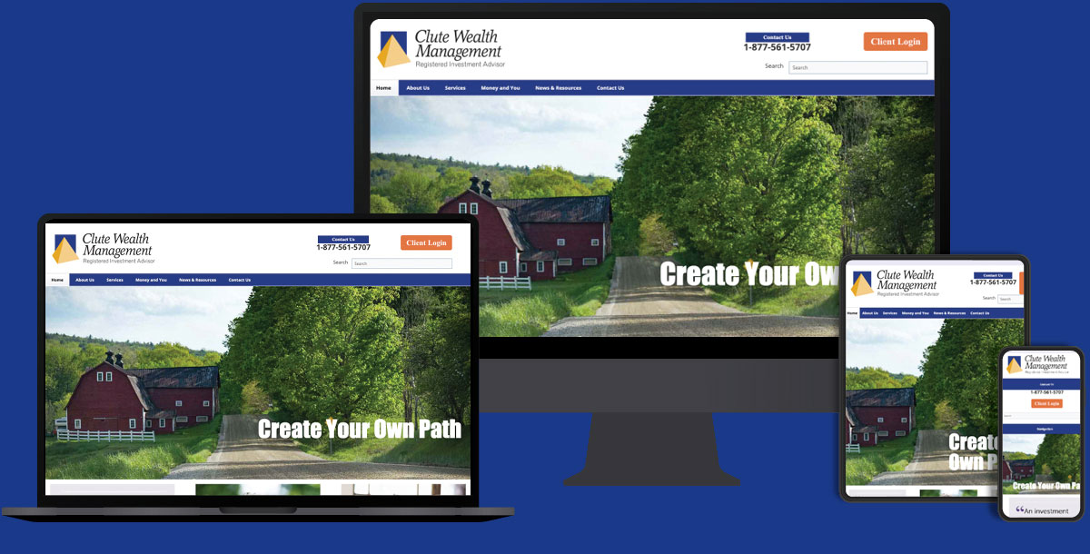 Clute Wealth Management website seen on multiple devices