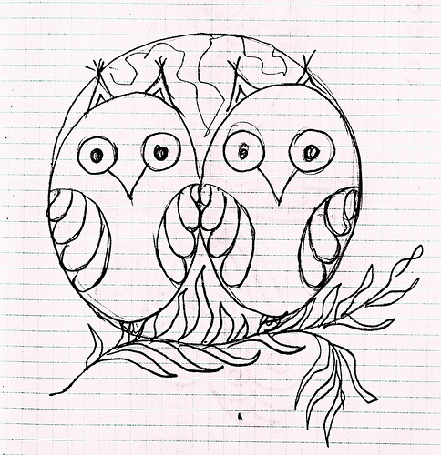 Two Owls in a Moon