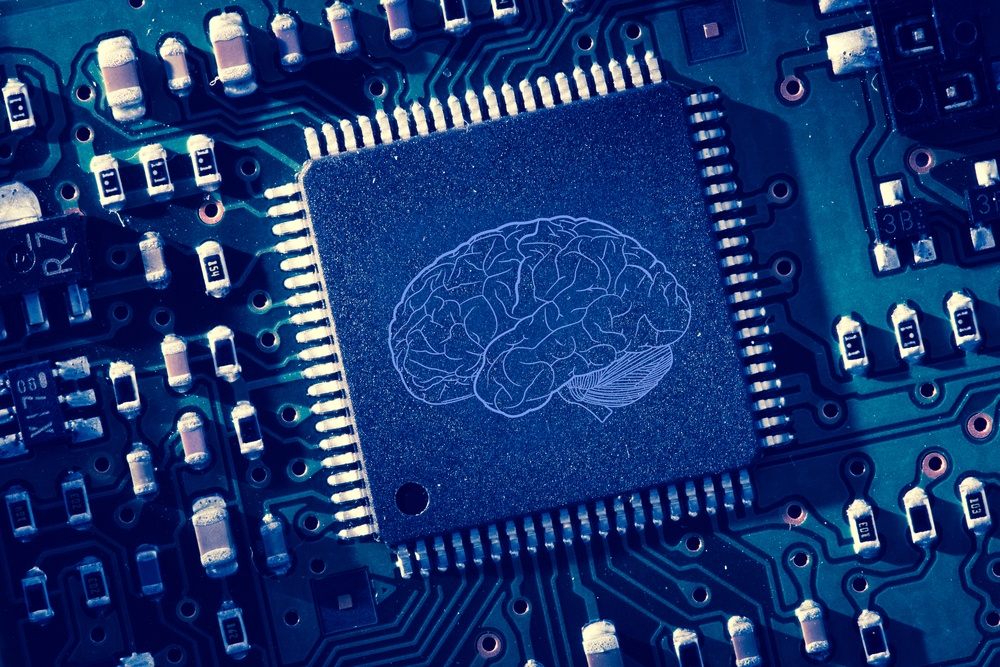 Printed brain on a circuit board to illustrate the framing effect