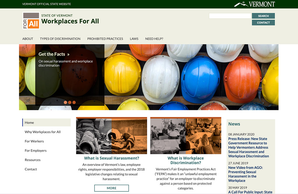 Workplaces For All website homepage