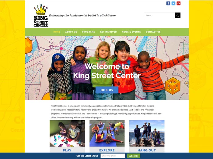 Home page of new King Street Center website