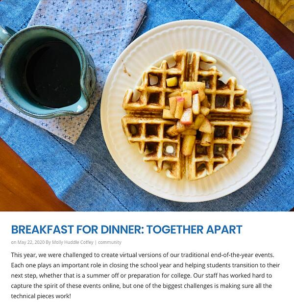 Breakfast For Dinner, Together Apart news item