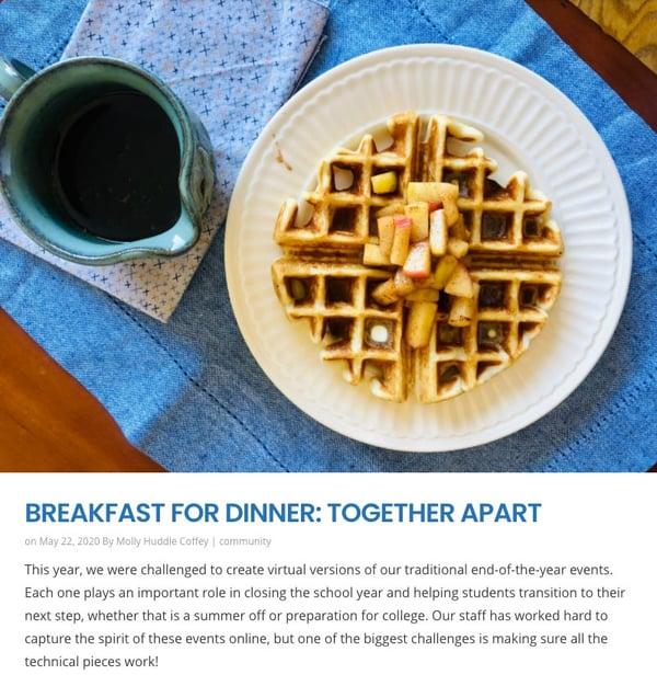 Breakfast For Dinner, Together Apart news item