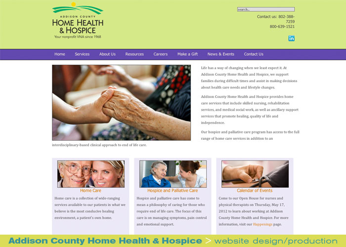 Digital Web Online_Addison County Home Health and Hospice_website design and production