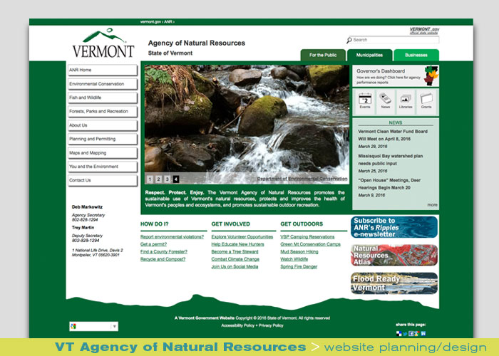 Digital Web Online_VT Agency of Natural Resources_website planning and design