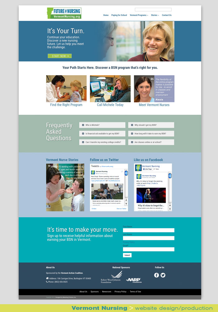 Digital Web Online_Vermont Nursing_website design and production