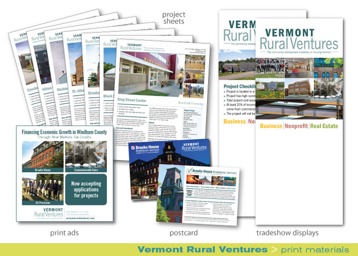 Print_Vermont Rural Ventures_print ads, porject sheets, tradeshow displays